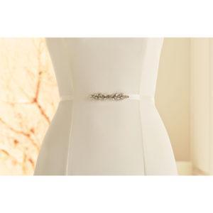 Brautgürtel aus Satin mit Ziersteinbesatz 2cm breit