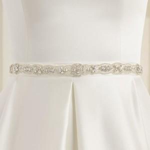 Brautgürtel aus Satin mit Ziersteinbesatz 2,5cm breit