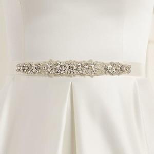 Brautgürtel aus Satin mit Ziersteinbesatz 3cm breit