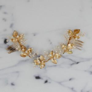 Haarband mit Blättern und Perlen