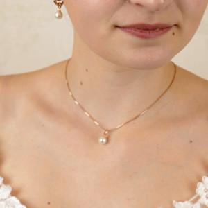 Kette mit Perlenanhänger in Roségold