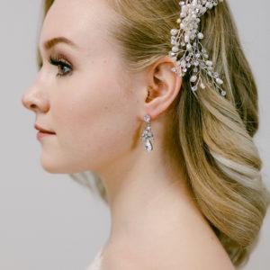 Haarbrosche mit Swarovskisteinen und Swarovskiperlen